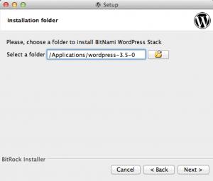 BitNami WordPress Stack - wybór folderu