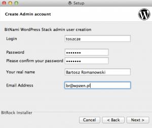 BitNami WordPress Stack - tworzenie użytkownika