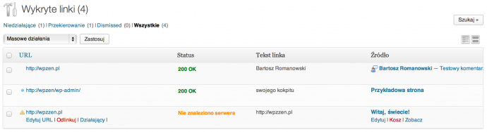 Broken Link Checker - lista linków