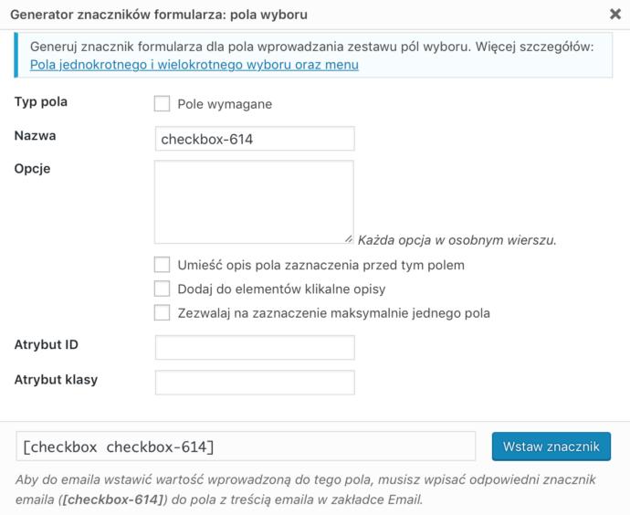 Contact Form 7 - dodawanie pola
