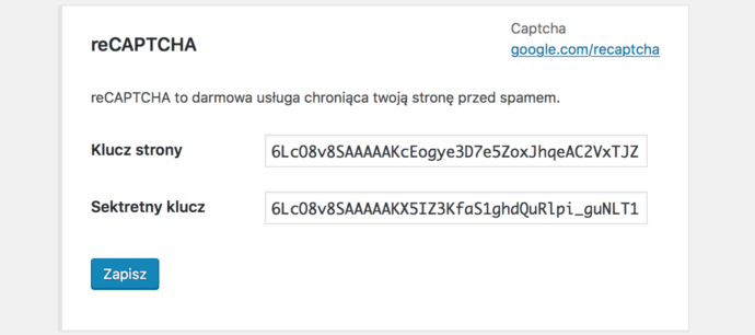 Contact Form 7 - reCAPTCHA