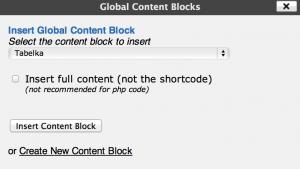 Global Content Blocks  - wstawianie