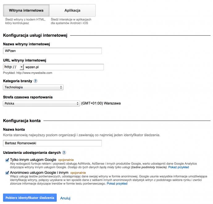 Google Analytics - rejestracja