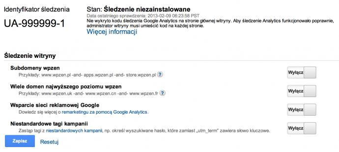 Google Analytics - śledzenie informacji