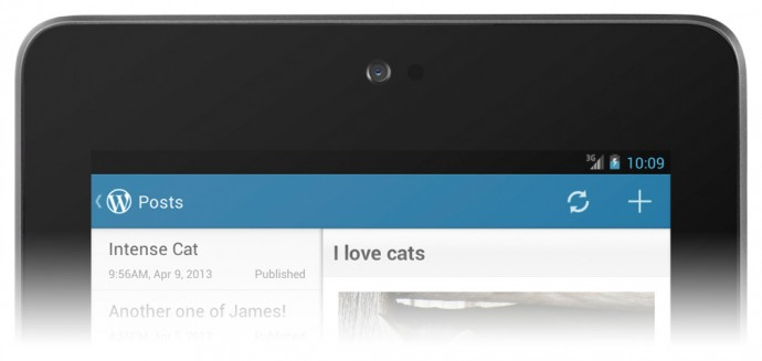 WordPress for Android 2.3 - Action Bar