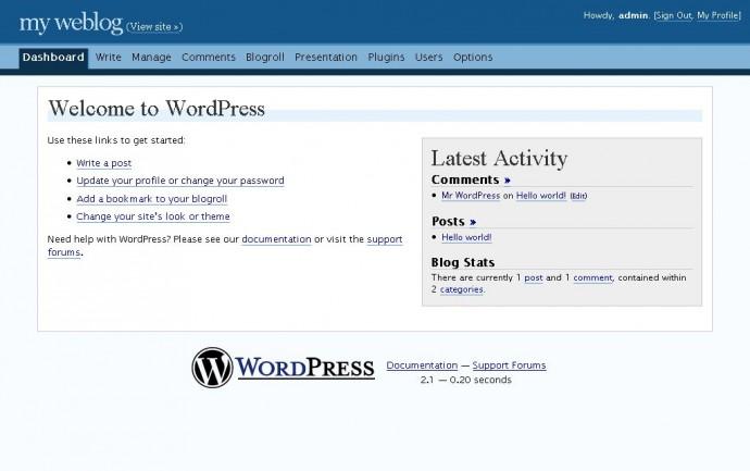 WordPress 2.1 - kokpit