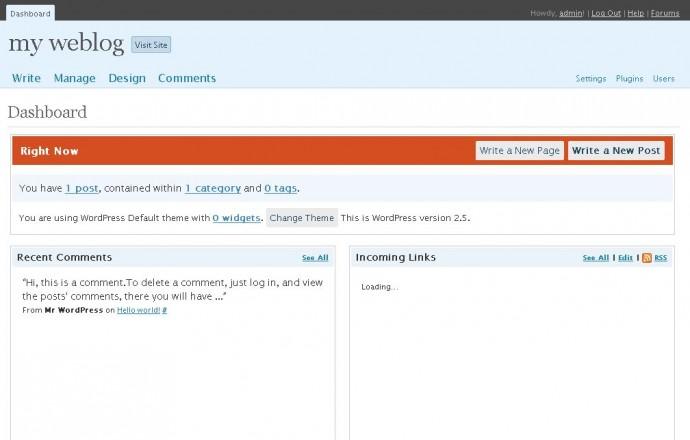 WordPress 2.5 - kokpit