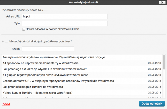 WordPress 3.1 - odnośniki