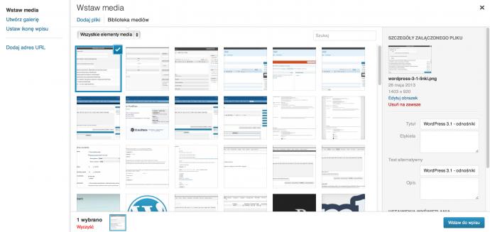 WordPress 3.5 - media