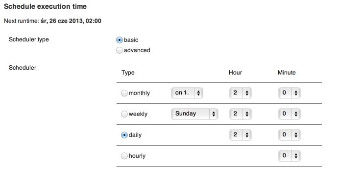 BackWPup - schedule