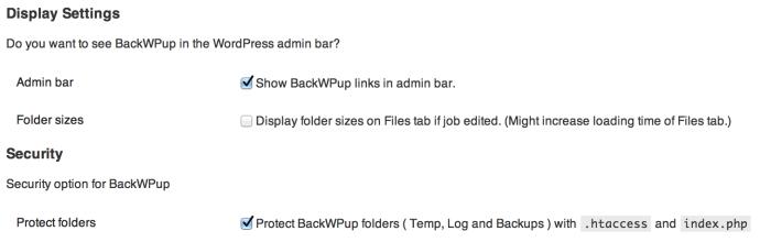 BackWPup - ustawienia