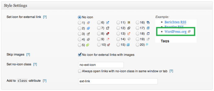 WP External Links - Style Settings