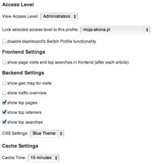 Google Analytics Dashboard for WP - ustawienia