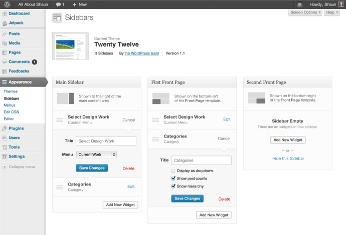 WordPress 3.8 - sidebary