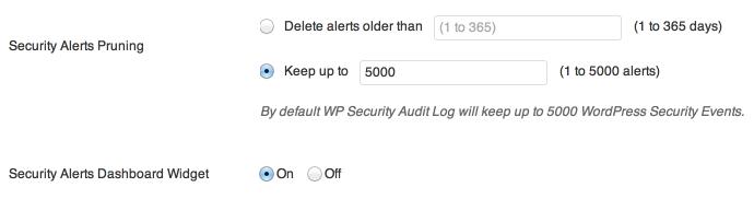 WP Security Audit Log - ustawienia