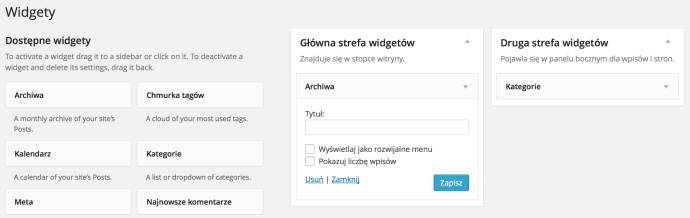 WordPress 3.8 - widgety