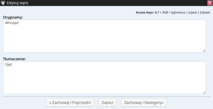 Codestyling Localization - okno tłumaczenia