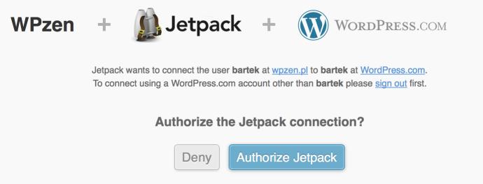 Jetpack - logowanie