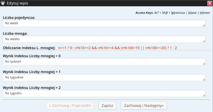 Codestyling Localization - liczba mnoga
