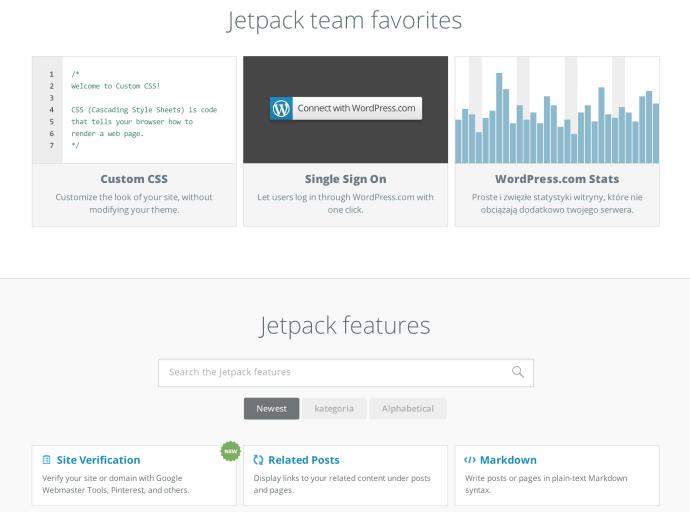 Jetpack - strona główna