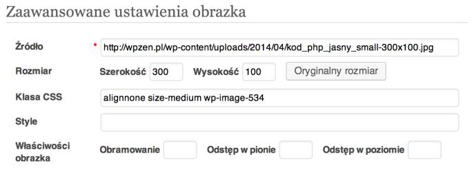 WordPress 3.8 - szczegóły obrazka