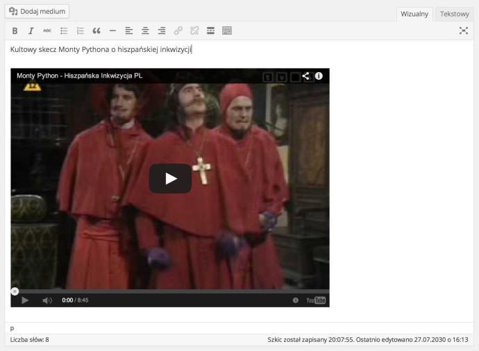 WordPress 4.0 - podgląd osadzanych elementów wedytorze wizualnym