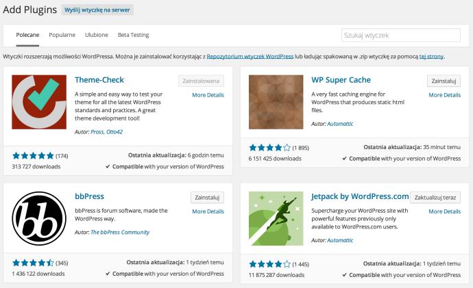 WordPress 4.0 - instalator wtyczek