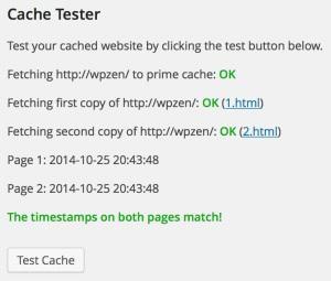 WP Super Cache - Cache Tester