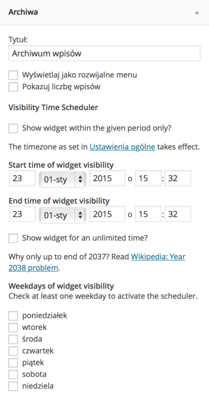 Widget Visibility Time Scheduler