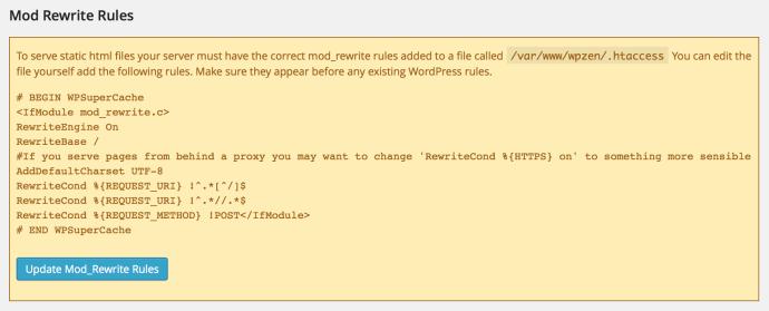 WP Super Cache - Mod Rewrite Rules