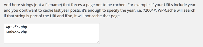 WP Super Cache - wykluczone strony