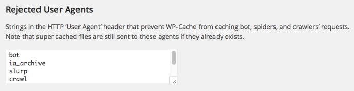 WP Super Cache - wykluczone user agents