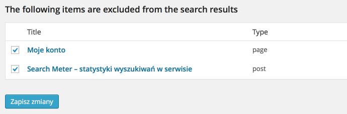 Search Exclude - lista wykluczonych stron iwpisów