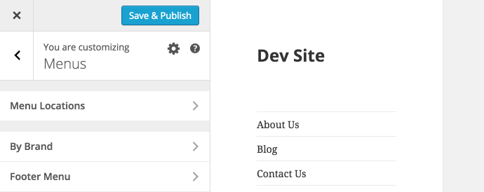 WordPress 4.3 - Menu Customizer