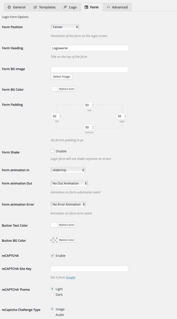 Tesla Login Customizer - form