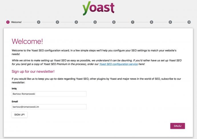 Yoast SEO - kreator konfiguracji