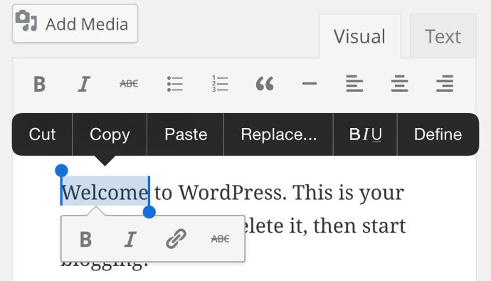 WordPress 4.5 - podręczny pasek narzędziowy naurządzeniach mobilnych
