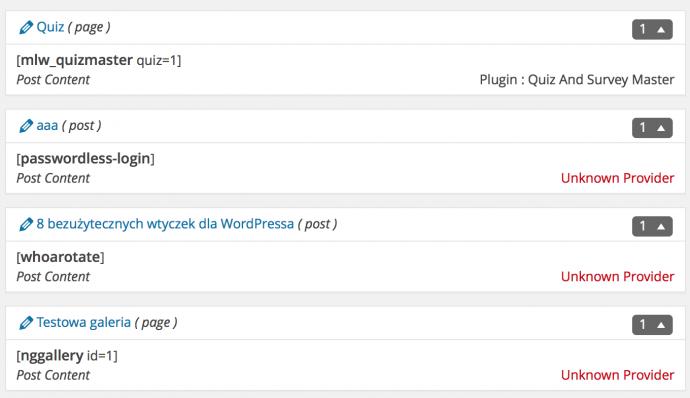 Shortcodes In Use - wyniki wyszukiwania