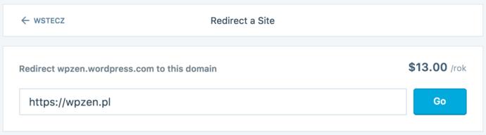 WordPress.com - przekierowanie