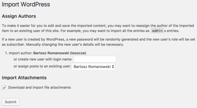 WordPress - import