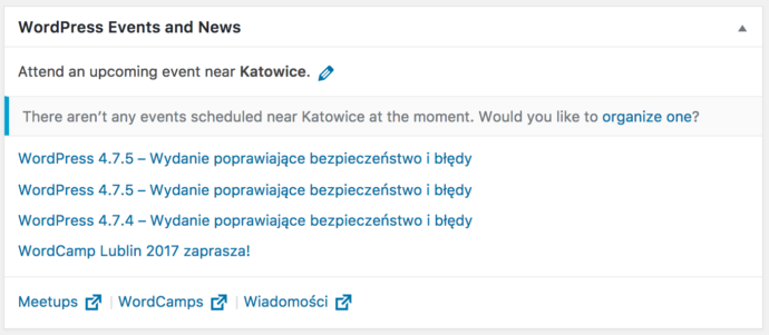 WordPress 4.8 - nowy widget w kokpicie