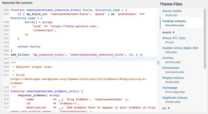 WordPress 4.9 - edytor kodu