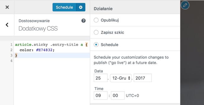 WordPress 4.9 - personalizator, planowanie