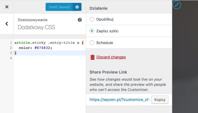 WordPress 4.9 - personalizator, szkice